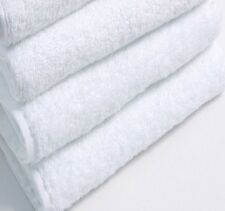 6 NEW WHITE COTTON HOTEL BATH TOWELS 22x44 NEW SOFT TOUCH SPA SALON GYM