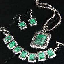 2018 Square Malachite Stone Necklace Bracelet Earring Antique Silver Jewelry Set