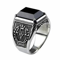 Vintage Ring Men Real Pure 925 Sterling Silver Jewelry Black Obsidian Natural St