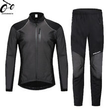 Cycling Suit Windproof Thermal Fleece Long Sleeve Jersey & Pants Reflective