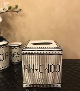 """Kassatex Black & Ivory Mosaic Tiles """"Ah-Choo"""" Fine Porcelain Tissue Box Cover"""