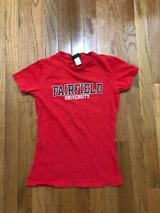 Fairfield University Stags-- Red Cotton T-Shirt Size Small Women's