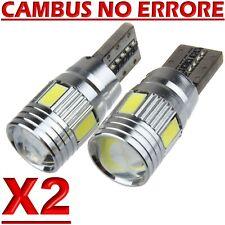 2 Lampade T10 LED HID Canbus 6 SMD 5630 BIANCO Lampadine Xenon 6000 K Posizione