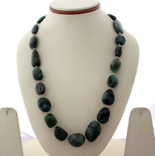 925 SOLID STERLING SILVER BEADED NECKLACE NATURAL EMERALD GEMSTONE 112 GRAMS