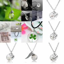 Best Wish Clover Glass Moon Necklace Pendant Ball Charm Jewelry Family Wedding