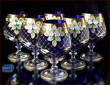 "Bohemia Glass Brandy Glasses 14 cm, 400 ml, ""Izabella"" Topaz 6 pc New!"