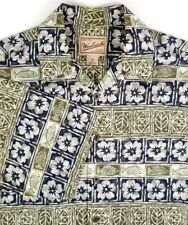 Woolrich Mens Short Sleeve Shirt Size M Medium Olive Black Floral & Fish Cotton
