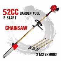 52cc Long Reach Pole Chainsaw 3 extend telescopic pole Petrol Chain Saw Pruner