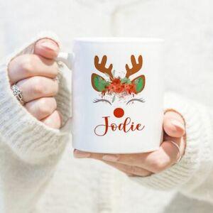 Personalised Reindeer Christmas Mug/Cup Tea Coffee Gift Any Name Xmas Present