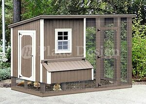 Hen House / Chicken Coop with Run, 4 x 8 Modern Roof Style Plans, Design 70408RM