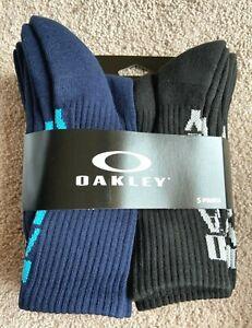 Oakley Crew Socks 5 Pair Black Blue Green  Shoe Size Mens 9 10 11 M