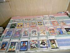 LOT OF 27 GRADED BASEBALL CARDS CHIPPER, PIAZZA, RIPKEN, FISK, YOUNT, MANTLE ETC