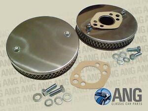 """MG MIDGET 1500 STAINLESS STEEL HS4 1 1/2"""" SU PANCAKE AIR FILTERS & GASKETS x 2"""