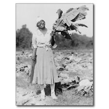 "+PC-Postcard-""Lady Holding Large Tobacco Leaf in Field"" ...w/Cutter- (B486)"