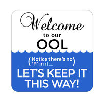 Welcome To Our Pool Patio Sign Plaque, Metal Outdoor Beach Pool Party Decor
