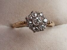 Q93 Ladies 18ct gold Diamond cluster engagement ring size O