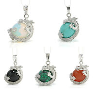 Vintage Natural Crystal Hexagonal Gemstone Silver Dragon Charm Pendant Necklace