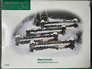 Department 56 Accessories Holly Split Rail Fence Set Of 4 New