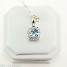 CHARLES KRYPELL 10.45 CT. BLUE TOPAZ 0.87CT. DIAMOND PENDANT 18K YELLOW GOLD/925