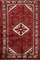 Geometric Hamedan Hand-Knotted Wool Area Rug Traditional Oriental Carpet 3x5 RED
