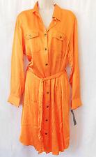 RALPH LAUREN Bright Orange Belted Satin Shirt Dress-Plus Size 22W-NWT-NEW-$160