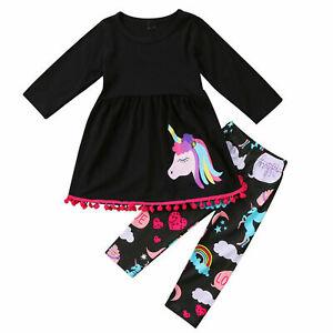 2PCS Unicorn Kids Girls T-shirt Tops Dress +Long Pants Outfits Baby Clothes Set