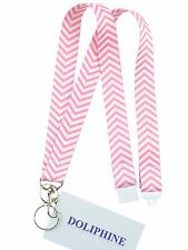 Breakaway polyester Chevron necklace lanyard double key ring pack in clear box