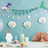 1Set Happy Birthday Banner Flag for Kids Mermaid Birthday Party Hanging Decor
