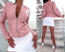 NEU 2017 LEDER OPTIK LEATHER LOOK Damen Jacke Mantel Q85 Blazer Coat Pink L