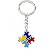1PC AUTISM AWARENESS PUZZLE RIBBON CHARM SILVER KEYRING KEYCHAIN JEWELRY STRICT