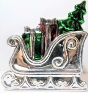 Bath & Body Works SILVER HOLIDAY SLEIGH CERAMIC LIQUID HAND SOAP HOLDER