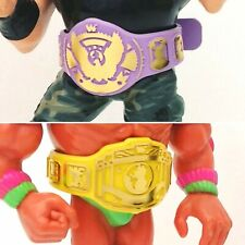 Belts for WWF WWE Hasbro Wrestling Figures - 1xEagle LAVENDER & 1x IC YELLOW WFW