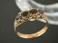 ANTIQUE 9CT GOLD GARNET AND SEED PEARL RING!