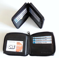 Quality Well Made Mens Bifold zip around Black Leather Wallet 9 cards and id