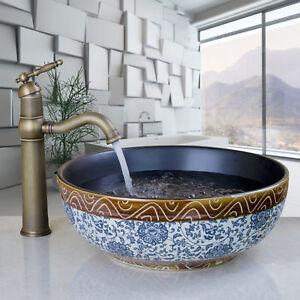 Classical Round Ceramic Bowl Bathroom Sink Basin Vanity Antique BrassTap Faucet