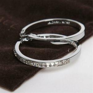 Michael Kors Silver Tone Hoop Pave Set Earrings