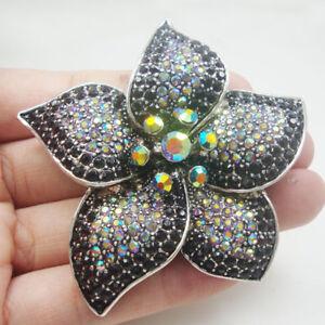 Vintage Flower Purple Rhinestone Crystal Woman Brooch Pin Silver Tone