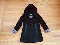 New Mackage black leather trim hooded long jacket coat sz M