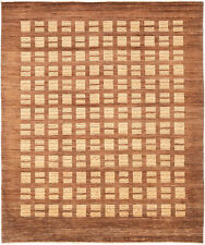 8X10 Hand-Knotted Gabbeh Carpet Tribal Brown Fine Wool Area Rug D28889