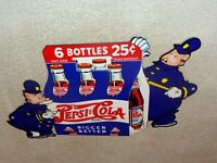 "VINTAGE PEPSI COLA 6 BOTTLES W/ POLICE COPS 12"" METAL SODA POP GASOLINE OIL SIGN"