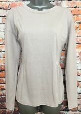 NEW NEXT 12 Neutral Wash Longline Frill Hem Long Sleeve Tunic T-shirt Top