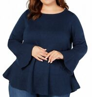 Style & Co. Women's Sweater Blue Size 1X Plus Bell-Sleeves Ruffle $56 #037