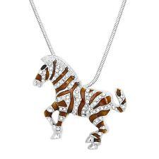 "Zebra Charm Pendant Fashionable Necklace - Sparkling Crystal - 17"" Chain"