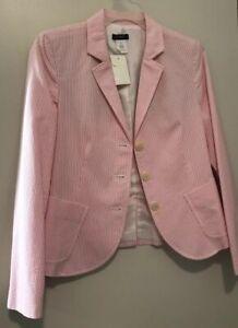 J Crew Pink White Seersucker Blazer Jacket NWT 4P