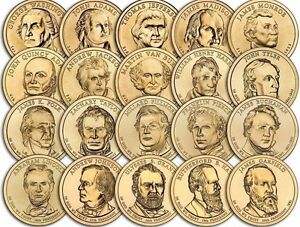 """A Lot of 10 Random Years """"About Uncirculated"""" Presidential Dollars US Mint Coin"""