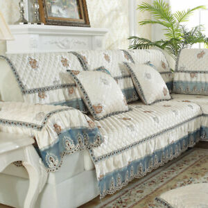 Classic Lace Linen Sofa Cover for Sectional Couch Slipcover 3/4/5 Seater Quilted