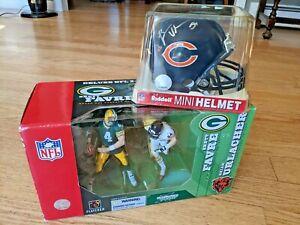 Chicago Bears Brian Urlacher Signed Riddell Mini Helmet Brett Favre Deluxe Lot