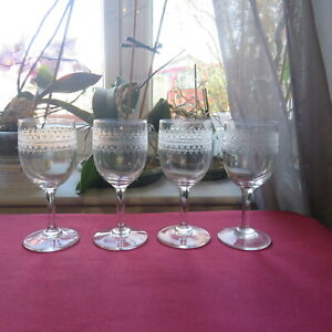 4 Glasses Wine White Or To Porto IN Crystal Baccarat Engraved Model