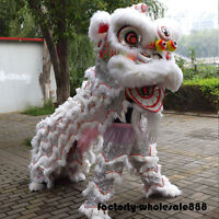 Handmade Lion Mascot Dance Costume Chinese Folk Art Wool Southern For Two Adults