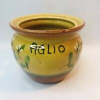 Amalfi Italy Aglio Golden Yellow Handpainted Farmhouse Garlic Keeper Pot